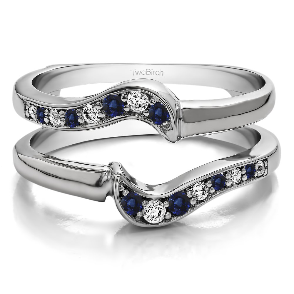 TwoBirch 0.24 ct. Diamonds (G-H,I2-I3) and Sapphire Small Knott Ring Guard Enhancer in Sterling Silver (1/4 ct. twt.) (Size 3 to 15 in 1/4 Size Intervals)