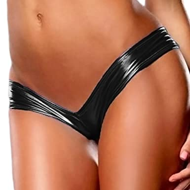 d01f912451b2 Sexy Women's Metallic Lingerie G-String Micro Thong Underwear Pants Bikini  Hipster Briefs Faux Leather Ladies Panties Knickers Underpants Wet Look  Dancing ...