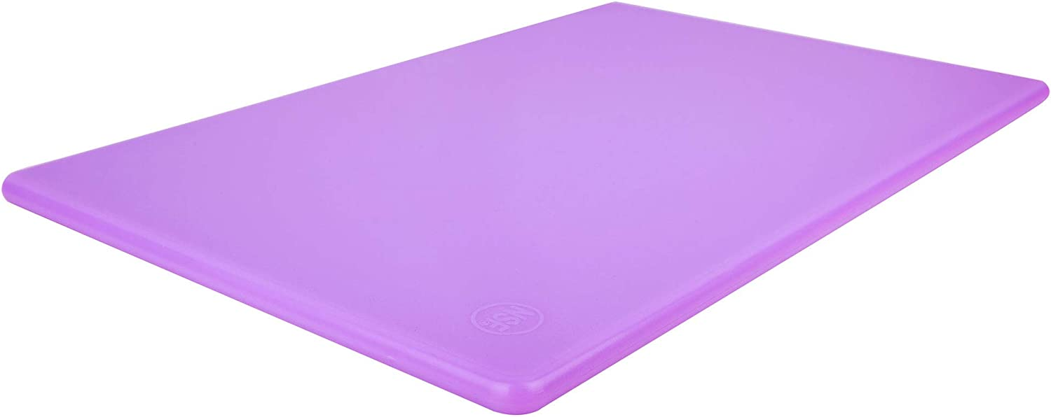 Purple Plastic Cutting Board NSF, 18 x 12 Inches, Food Allergen, Allergy and Cross Contamination