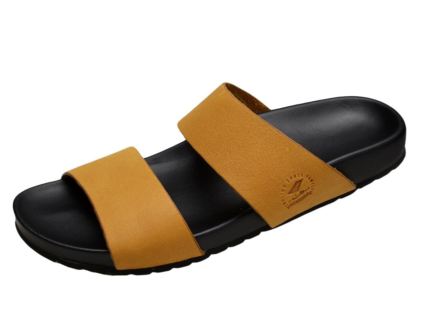 Insun Chanclas de Piel para Hombre Zapatos de Playa y Piscina 39 EU Marrón 2