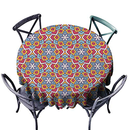 Onefzc Indoor/Outdoor Round Tablecloth Floral Arabesque pattern2 High-end Durable Creative Home 67