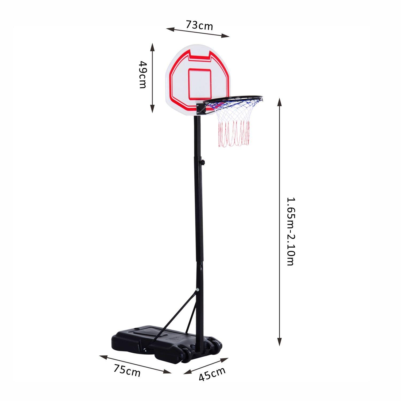 Black 2.1m NEW Free Standing Pro Spec Adjustable Basketball Net Post Stand
