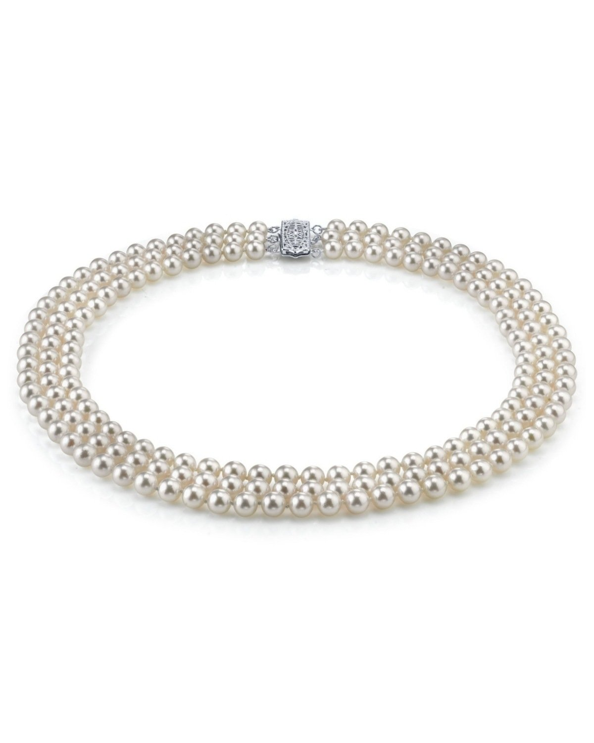 8-9mm Sterling Silver Triple Strand White Freshwater Cultured Pearl Necklace, 18-19-20'' Length - AAA Quality
