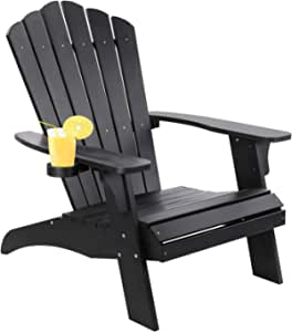 Oversized Poly Lumber Adirondack Chair with Cup Holder, Fade-Resistant Lounge Chair with 350lbs Duty Rating, All-Weather Chair for Fire Pit & Garden, 38L 30.25W 41.5H (Black)