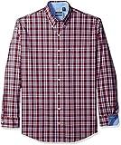 IZOD Men's Big and Tall Advantage Performance Plaid Long Sleeve Shirt, Cinnibar, 3X-Large Big
