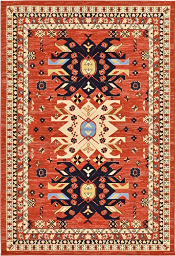 - Unique Loom Taftan Collection Geometric Tribal Terracotta Area Rug (6' 0 x 9' 0)