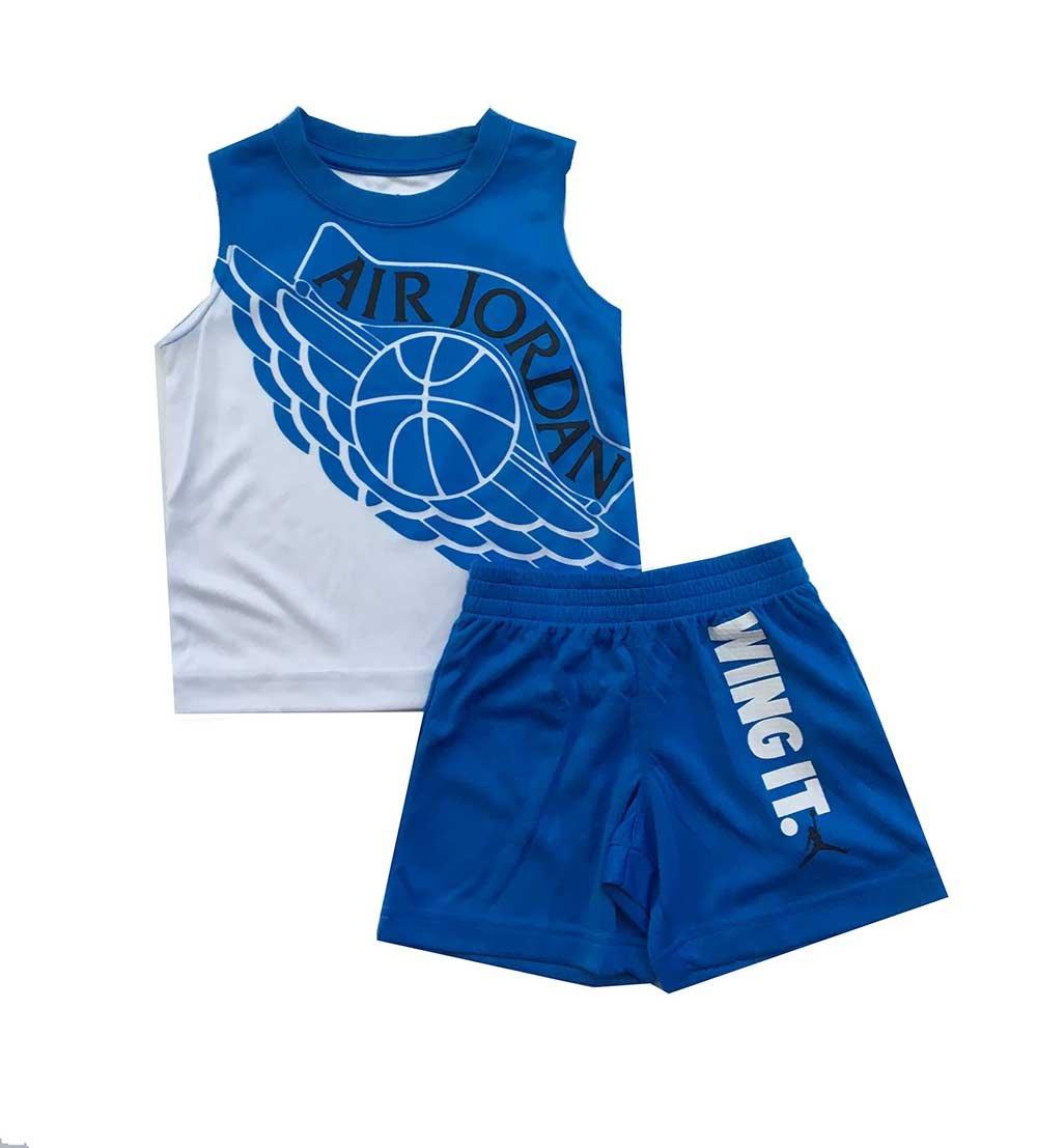 Air Jordan Little Boys Two Piece Tank Top and Shorts Set Light Photo Blue Size 4