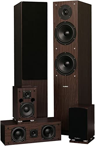 Fluance SXHTBW High Definition Surround Sound Home Theater 5.0 Channel Speaker System Including Floorstanding Towers, Center and Rear Speakers Natural Walnut
