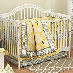 Stella 5 Piece Baby Crib Bedding Set for girls with Bumper by The Peanut Shell
