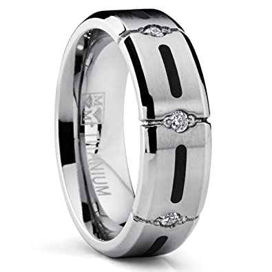 7MM Titanium Ring Wedding Band With Resin Inlay And 3 Cubic Zirconia CZ 7