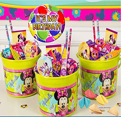 disney-minnie-mouse-bow-tique-3-pre-filled-party-favors-treat-buckets-plus-bonus-its-my-birthday-pin