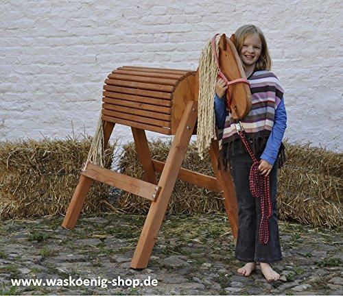 Holzpferd Voltigierpferd Holzpony Gr. L, Kastanie lasiert