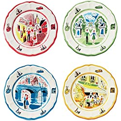 1 of Euro Ceramica Turner Classic Movieu0027s An American in Paris Collection 8.7  Ceramic Salad/Dessert Plates Set of 4 Assorted Designs Multicolor  sc 1 st  Amazon.com & Amazon.com | Euro Ceramica American in Paris Complete Dinnerware ...