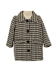Kids Dream Big Girls Black White Snap Buttons Houndstooth Jacket Coat 8-12