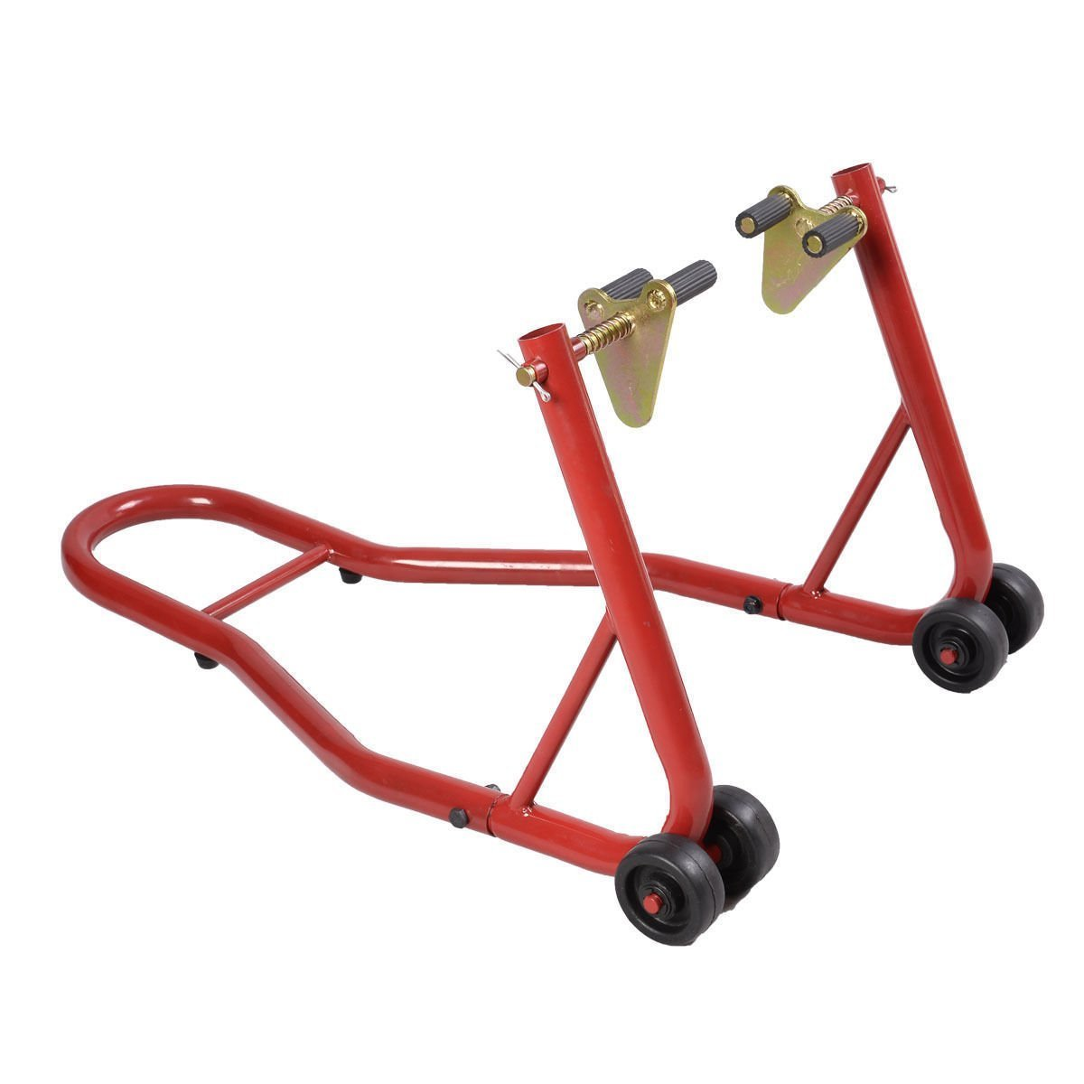 Goplus Motorcycle Stand Front Wheel Lift Fork Swingarm Stands Paddock Stands Forklift Auto Bike Shop (Red, Front Stand)