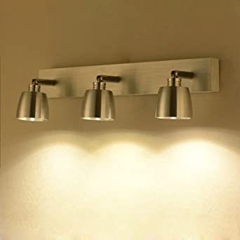 Lámpara de Espejo Simple moderna Acero Inoxidable LED Lámpara de Pared Impermeable Lámpara de Pared Giratoria Iluminación Interior Clásica para Escaleras de Pasillo de Baño, 3 Llamas, 3000K: Amazon.es: Iluminación