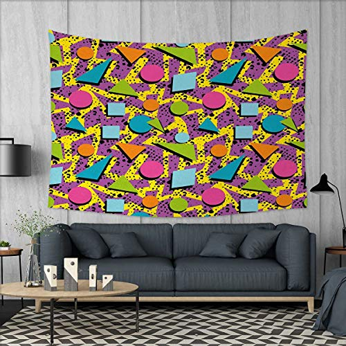 Price comparison product image Anniutwo Vintage Home Decorations for Living Room Bedroom Funky Geometric 80s Memphis Fashion Style Colorful Figures Pop Art Inspired Pattern Wall Tapestry W80 x L60 (inch) Multicolor