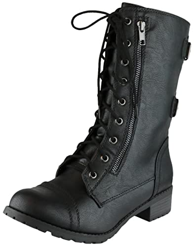 Large Size & Small Size Women Mid Calf Boots Round Toe Zip Shoes