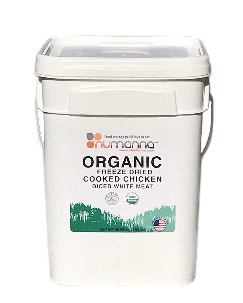 NuManna Organic Freeze Dried Cooked Chicken Diced White Meat - Bucket of 66 Servings, Emergency Survival Food Storage Kit, Separate Rations, in a Bucket, 10 Plus Year Shelf Life, GMO-Free
