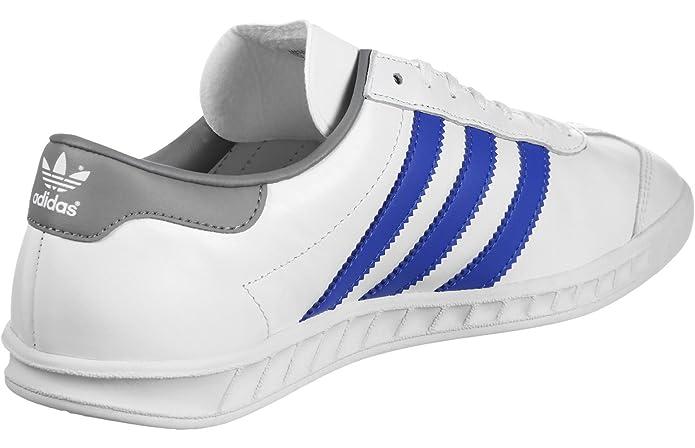 adidas Hamburg Herren Schuhe Weiß mit blauen Streifen
