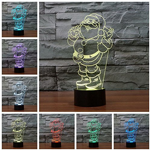 Lightess 3D Night Light 7 Color Change Touch Switch Table Desk Lamp For Christmas Gift (Santa Claus)