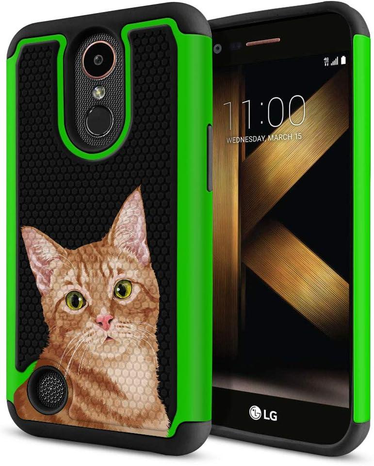 FINCIBO Case Compatible with LG K20 Plus/Harmony VS501/ LV5 K10 2017 M250 M257, Dual Layer Football Skin Hybrid Protector Case Cover TPU for LG K20 Plus - Cute Orange Tabby Kitten Cat/Green