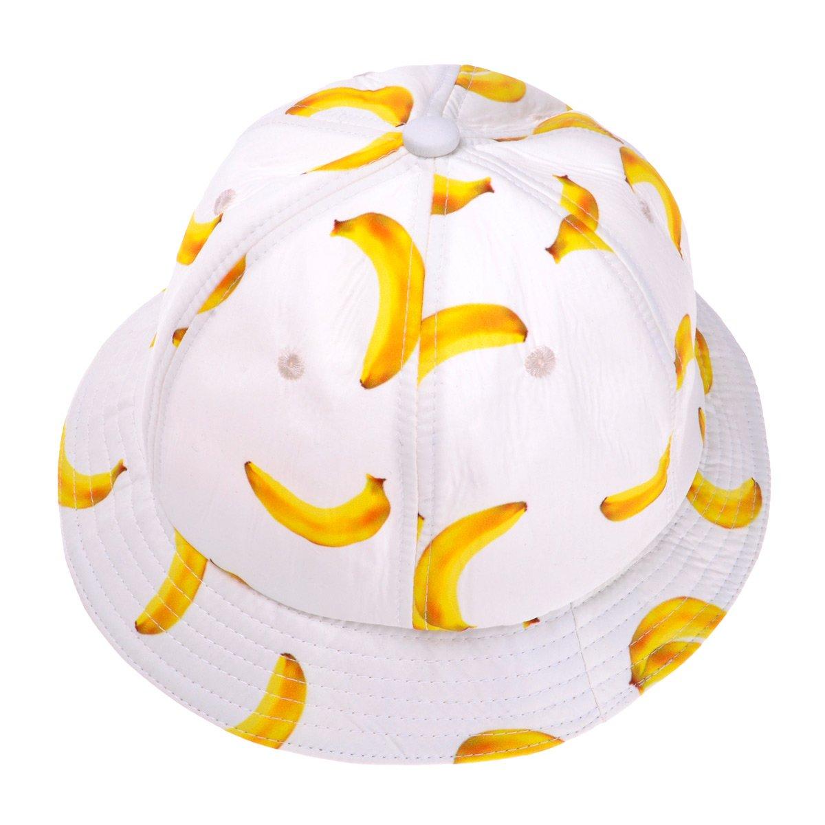 ZLYC Unisex Funky Fruit Print Bucket Hat Fishmen Outdoor Cap ZYJ-MZ-061-BK-1