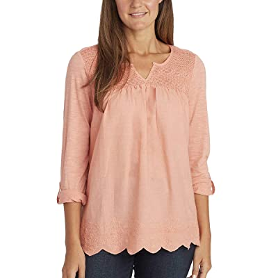 Summer Tops for Women/Daphne Ladies' Woven Blouses with Roll Tab Sleeves at Women's Clothing store