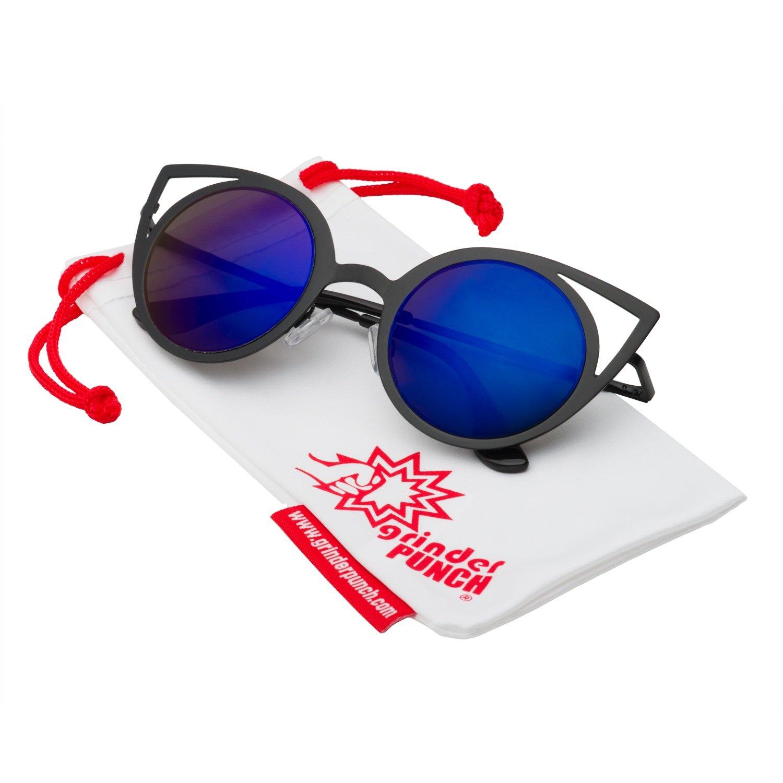 64dbaca85a22 hot sale 2017 grinderPUNCH Womens Fashion Round Metal Cut Out Cat Eye  Sunglasses