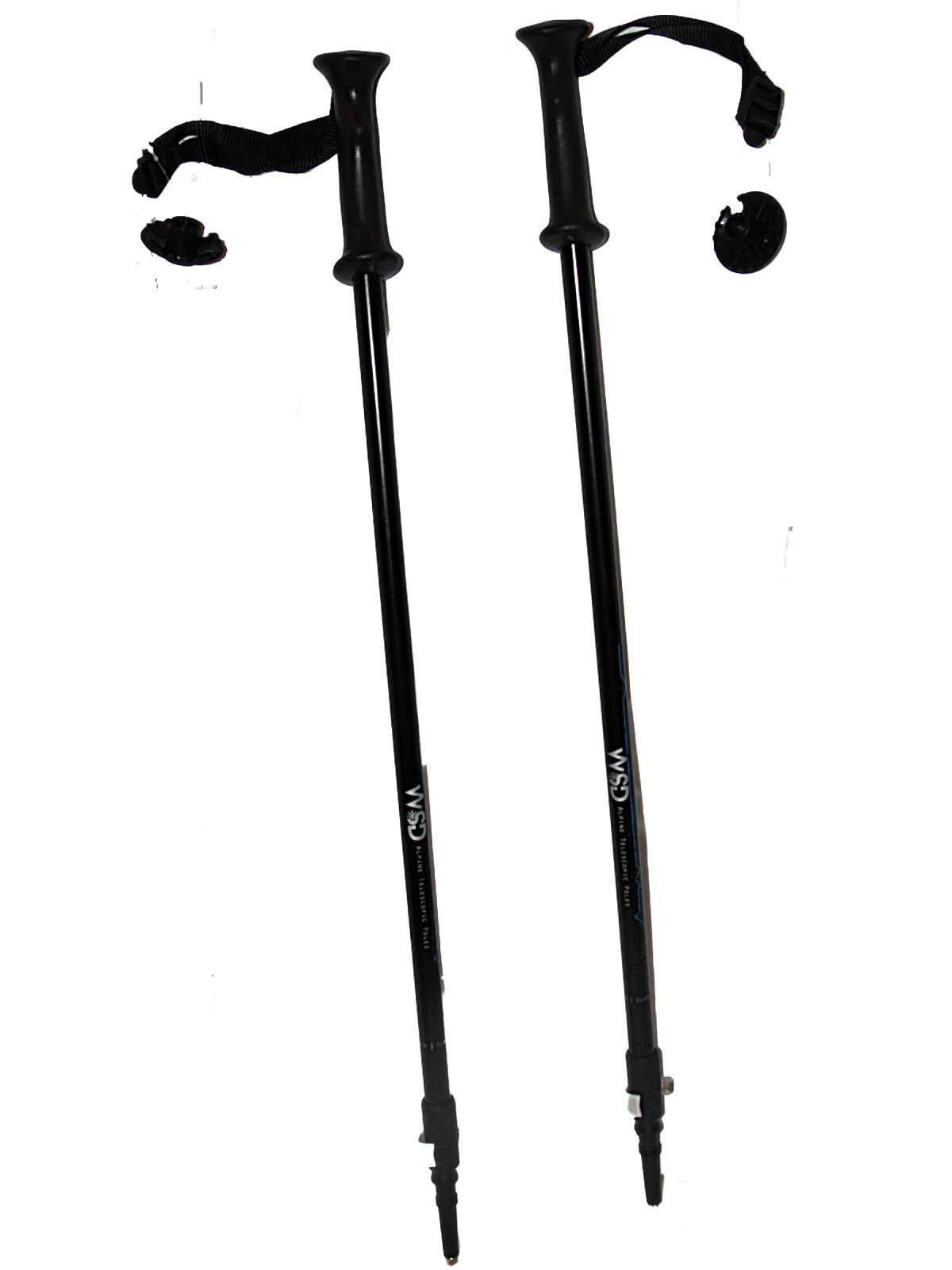 WSD Ski Poles Telescopic Adjustable Collapsible Adult Aluminum Downhill/Alpine, Black/Blue/Silver Pair with Baskets