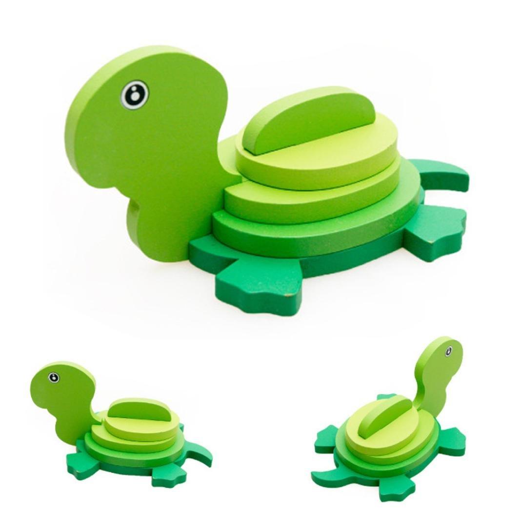 Beste Weihnachtsgeschenk an Kinder Montessori Mini Puzzle Kinder Pädagogisches Lustiges Spielzeug 3D Hölzernes buntes Tier Puzzle (Delphine) Hmeng