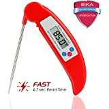 Meat Thermometer,IEKA Digital Electronic Instant Read Super Fast Accurate Food Cooking Thermometer with Collapsible Internal Probe,Best for Kitchen,Grill,BBQ,Milk,and Bath Water (Red)