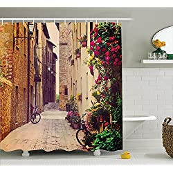 Ambesonne Wanderlust Decor Shower Curtain Set, Street in Pienza Tuscany Italy with Hanging Basket Plants Flowers Bicycles Picture, Bathroom Accessories, 69W X 70L Inches, Sand Brown Purple