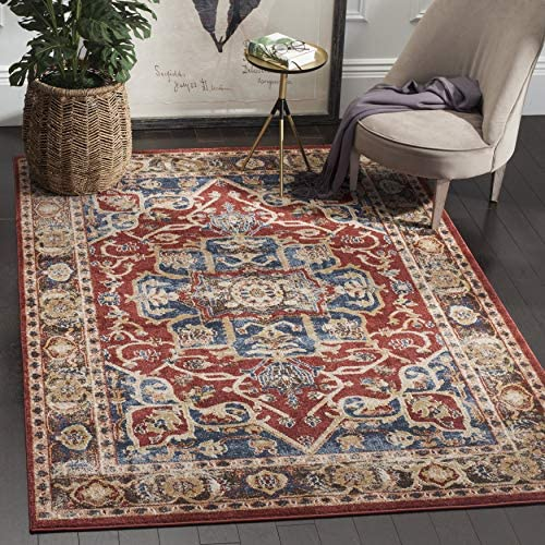 Safavieh Bijar Collection BIJ605R Traditional Oriental Vintage Red and Royal Blue Area Rug 8' x 10'
