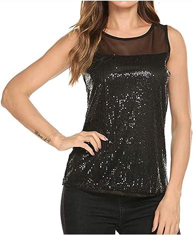 FEDULK Womens Sleeveless Shirts Vest V Neck Casual Chiffon Tank Tops Loose Casual Blouse