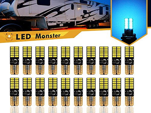 LED Monster 20-Pack Ice Blue LED Light Bulbs RV Trailer 24-SMD T10 921 194 168 2825 12V Backup Reverse Interior Side Trailer (Ice ()