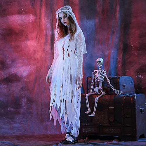 Mengjie Holloween Costume Bloody Zombie Female Ghost Dress Ghost Bride Game Suit, White, L -