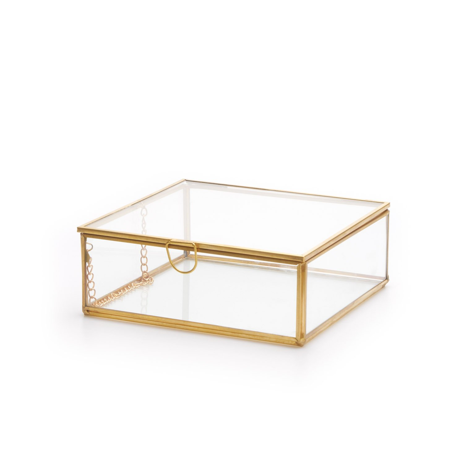 Black Velvet Studio Deco box Retro Transparent And Golden Aged colour decorative box with retro air to use as jewelry or small items Glass/brass 5 x 13 x 13 cm Black Velvet Studio S.L.U.