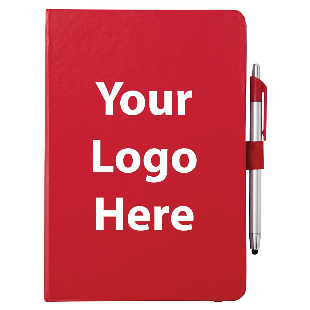 Crown Journal & Pen Stylus - 100 Quantity - $3.10 Each - PROMOTIONAL PRODUCT / BULK / BRANDED with YOUR LOGO / CUSTOMIZED