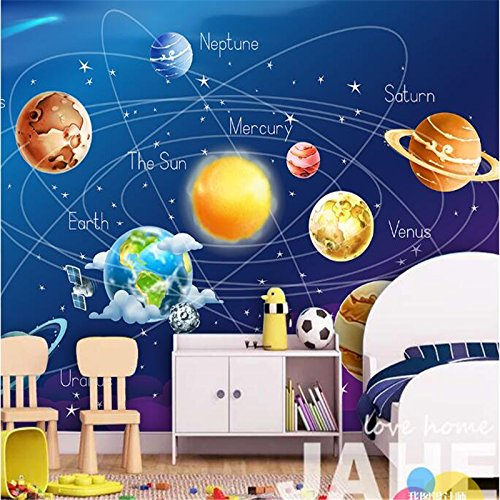 LHDLily 3D Wallpaper Mural Wall Sticker Thickening For Space Star Cartoon Solar Earth Backdrop Walls Background Village Forest Hut Night Oil Painting Tv - Hut Village