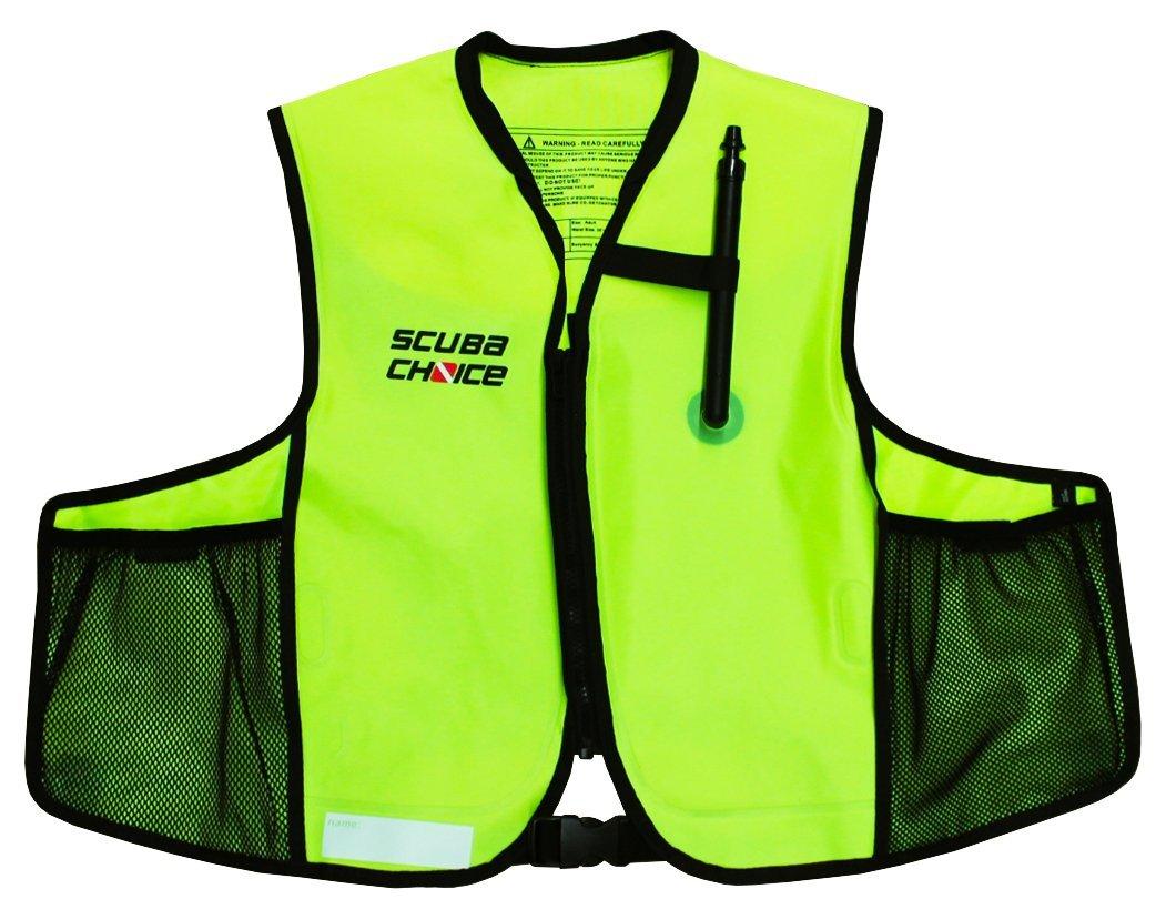 Scuba Choice シュノーケリング オーラル インフレータブル シュノーケル ジャケット ベスト ポケット付き ネオンイエロー B07G1YFFFC
