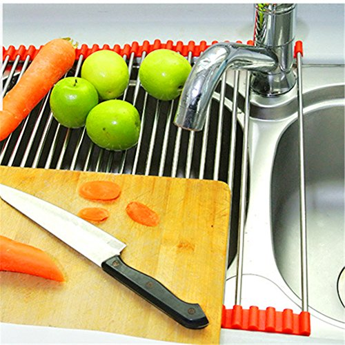 YKL Over the Sink Multi-purpose Roll-Up Dish Drying Rack, St