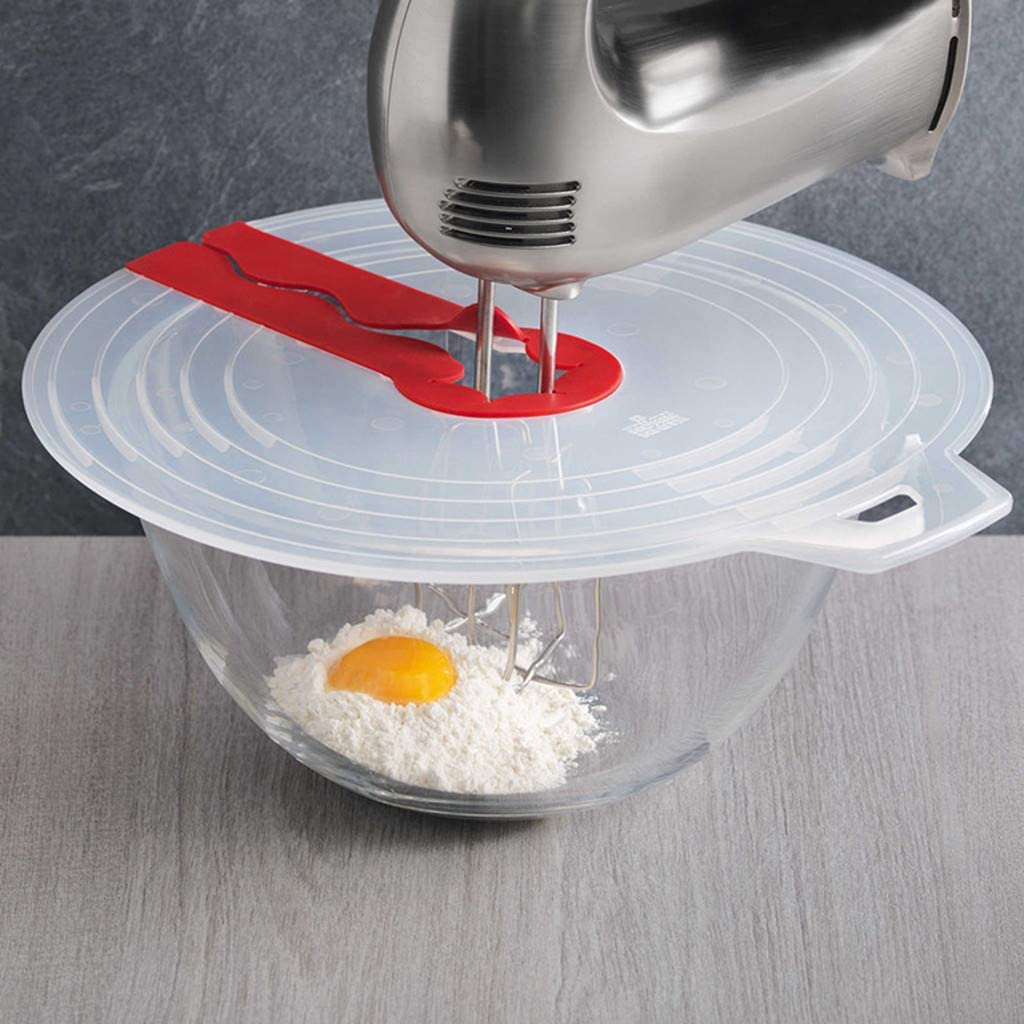 Clear Weite Creative Mixer Splatter Guard Durable Silicone Egg Bowl Whisks Screen Cover Transparent Baking Splash Guard Bowl Lids Kitchen Cooking Tool