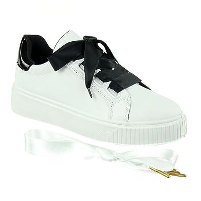 Raso In Tennis Verniciato Scarpe Sneaker Lacci Moda Donna Angkorly AUq0Tw