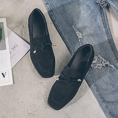GAOLIM Zapatos De Mujer De Primavera Con Gruesos Zapatos Negros Singles Femeninos Zapatos De Cabeza De Partido, Con Zapatos Zapatos De Alumnas Del Calzado De Trabajo Negro