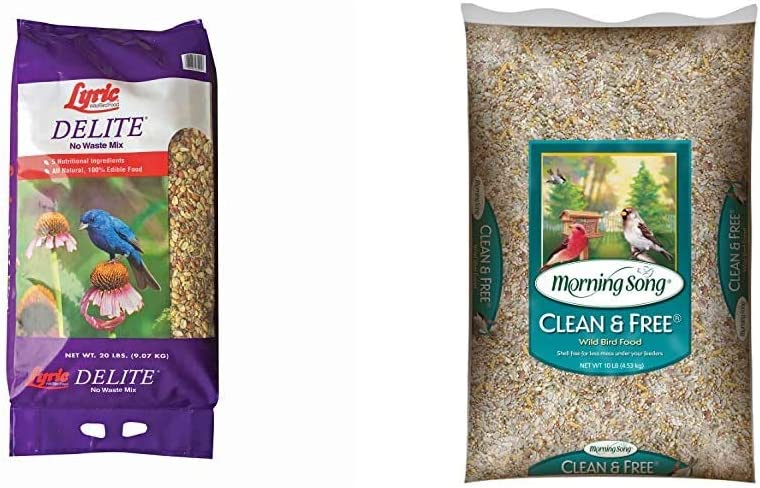 Lyric 2647462 Delite High Protein No Waste Wild Bird Mix, 20 lb & Morning Song 11959 Clean and Free Wild Bird Food, 10-Pound