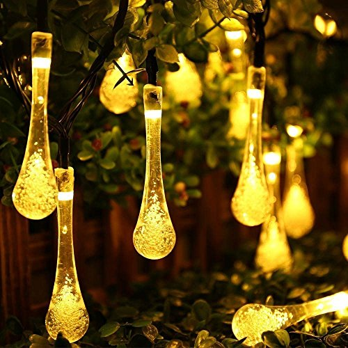 Icicle Solar String Lights Outdoor,19.2 Ft 8 Modes 30 Water Drop LED, Christmas Lights for Garden Decorations, Fence, Patio, Xmas, Wedding, Party and Holiday (2 Pack, Warm White)