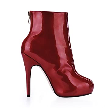 Best 4U Womens Ankle Boots Patent Leather 11CM High Heels Stiletto Rubber Sole Round Toe Zipper Shoes Red  B078KV32RC