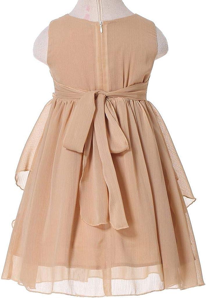 HAPPY ROSE Flower Girl Dress Ruffled Chiffon