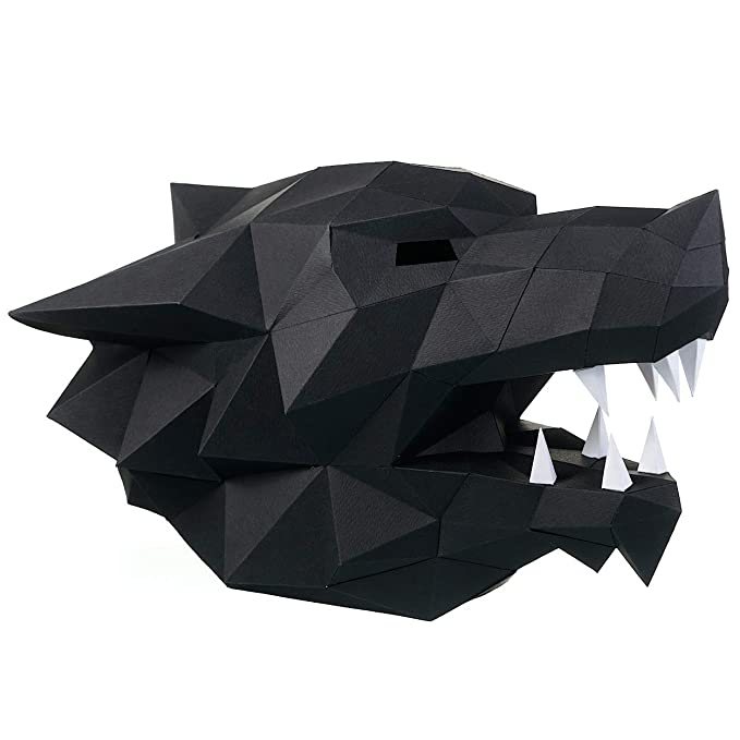 graphic about Printable Wolf Mask Template for Kids titled Paperraz 3D Wolf Thoughts Mask Animal Do it yourself for Grownups Small children - NO Scissors Demanded